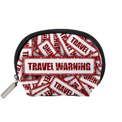 Travel Warning Shield Stamp Accessory Pouches (small)  by Nexatart