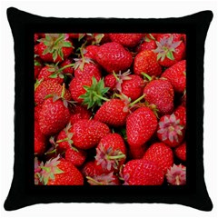 Strawberries Berries Fruit Throw Pillow Case (black)