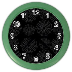 Spider Web Color Wall Clocks by Valentinaart