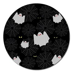 Spider Web And Ghosts Pattern Magnet 5  (round) by Valentinaart