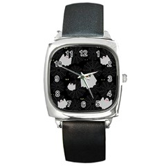 Spider Web And Ghosts Pattern Square Metal Watch by Valentinaart
