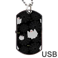 Spider Web And Ghosts Pattern Dog Tag Usb Flash (one Side) by Valentinaart