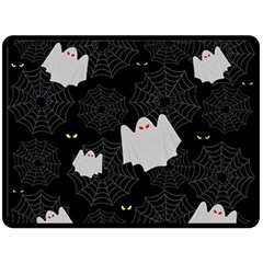 Spider Web And Ghosts Pattern Double Sided Fleece Blanket (large)  by Valentinaart
