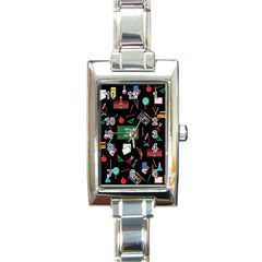 Back To School Rectangle Italian Charm Watch by Valentinaart