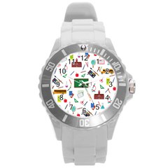 Back To School Round Plastic Sport Watch (l) by Valentinaart