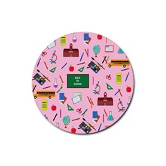 Back To School Rubber Coaster (round)  by Valentinaart