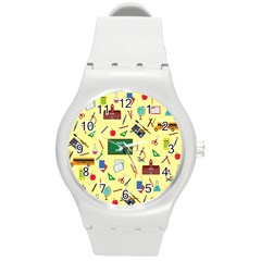 Back To School Round Plastic Sport Watch (m) by Valentinaart