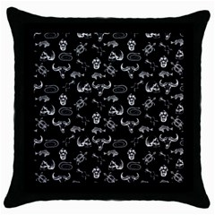 Skeleton Pattern Throw Pillow Case (black) by Valentinaart
