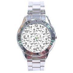 Skeleton Pattern Stainless Steel Analogue Watch
