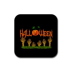 Halloween Rubber Coaster (square)  by Valentinaart