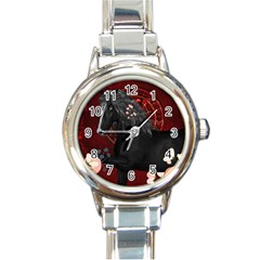 Awesmoe Black Horse With Flowers On Red Background Round Italian Charm Watch by FantasyWorld7