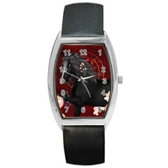 Awesmoe Black Horse With Flowers On Red Background Barrel Style Metal Watch by FantasyWorld7