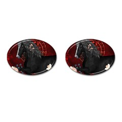 Awesmoe Black Horse With Flowers On Red Background Cufflinks (oval) by FantasyWorld7