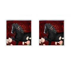 Awesmoe Black Horse With Flowers On Red Background Cufflinks (square) by FantasyWorld7