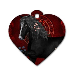 Awesmoe Black Horse With Flowers On Red Background Dog Tag Heart (one Side) by FantasyWorld7