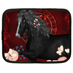 Awesmoe Black Horse With Flowers On Red Background Netbook Case (xxl)  by FantasyWorld7