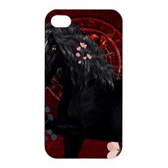 Awesmoe Black Horse With Flowers On Red Background Apple Iphone 4/4s Premium Hardshell Case by FantasyWorld7