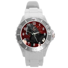 Awesmoe Black Horse With Flowers On Red Background Round Plastic Sport Watch (l) by FantasyWorld7