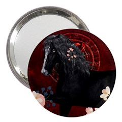 Awesmoe Black Horse With Flowers On Red Background 3  Handbag Mirrors by FantasyWorld7