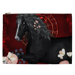Awesmoe Black Horse With Flowers On Red Background Cosmetic Bag (xxl)  by FantasyWorld7