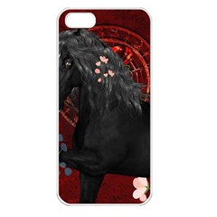 Awesmoe Black Horse With Flowers On Red Background Apple Iphone 5 Seamless Case (white) by FantasyWorld7