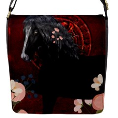 Awesmoe Black Horse With Flowers On Red Background Flap Messenger Bag (s) by FantasyWorld7
