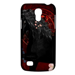 Awesmoe Black Horse With Flowers On Red Background Galaxy S4 Mini by FantasyWorld7