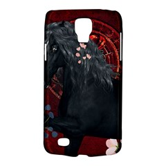 Awesmoe Black Horse With Flowers On Red Background Galaxy S4 Active by FantasyWorld7