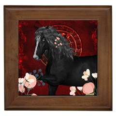 Awesmoe Black Horse With Flowers On Red Background Framed Tiles by FantasyWorld7