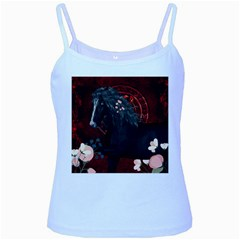 Awesmoe Black Horse With Flowers On Red Background Baby Blue Spaghetti Tank by FantasyWorld7