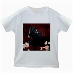 Awesmoe Black Horse With Flowers On Red Background Kids White T Shirts by FantasyWorld7