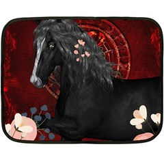 Awesmoe Black Horse With Flowers On Red Background Fleece Blanket (mini) by FantasyWorld7