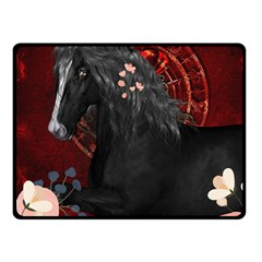 Awesmoe Black Horse With Flowers On Red Background Fleece Blanket (small) by FantasyWorld7