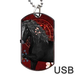 Awesmoe Black Horse With Flowers On Red Background Dog Tag Usb Flash (one Side)