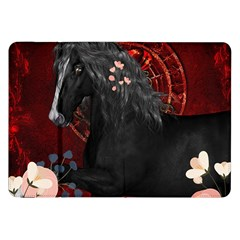 Awesmoe Black Horse With Flowers On Red Background Samsung Galaxy Tab 8 9  P7300 Flip Case by FantasyWorld7
