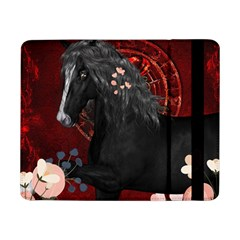 Awesmoe Black Horse With Flowers On Red Background Samsung Galaxy Tab Pro 8 4  Flip Case by FantasyWorld7