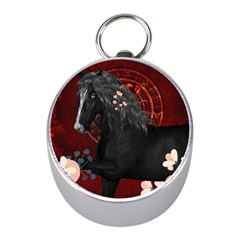 Awesmoe Black Horse With Flowers On Red Background Mini Silver Compasses