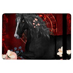 Awesmoe Black Horse With Flowers On Red Background Ipad Air Flip by FantasyWorld7
