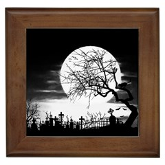 Halloween Landscape Framed Tiles by Valentinaart