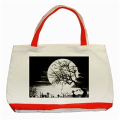 Halloween Landscape Classic Tote Bag (red) by Valentinaart