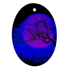 Halloween Landscape Oval Ornament (two Sides) by Valentinaart