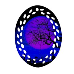 Halloween Landscape Oval Filigree Ornament (two Sides) by Valentinaart