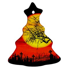 Halloween Landscape Christmas Tree Ornament (two Sides) by Valentinaart