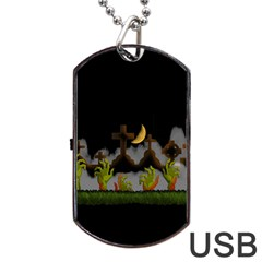 Halloween Zombie Hands Dog Tag Usb Flash (one Side) by Valentinaart