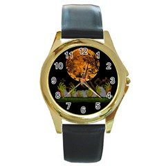 Halloween Zombie Hands Round Gold Metal Watch