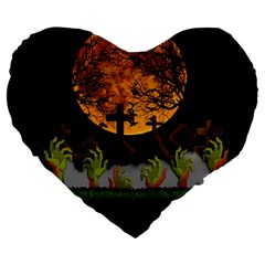Halloween Zombie Hands Large 19  Premium Heart Shape Cushions by Valentinaart