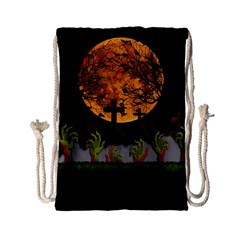 Halloween Zombie Hands Drawstring Bag (small) by Valentinaart