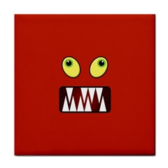 Funny Monster Face Tile Coasters by linceazul