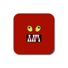 Funny Monster Face Rubber Coaster (square)  by linceazul