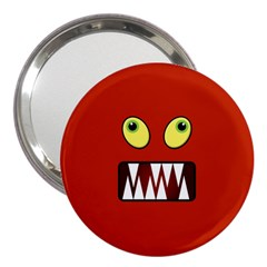 Funny Monster Face 3  Handbag Mirrors by linceazul